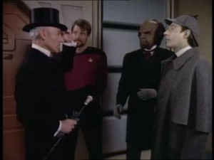 "Brent Spiner playing Data playing Sherlock Holmes in Star Trek - The Next Generation"""